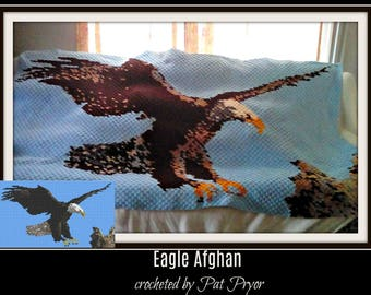 Eagle Afghan, C2C Graph, with Row by Row Word Chart