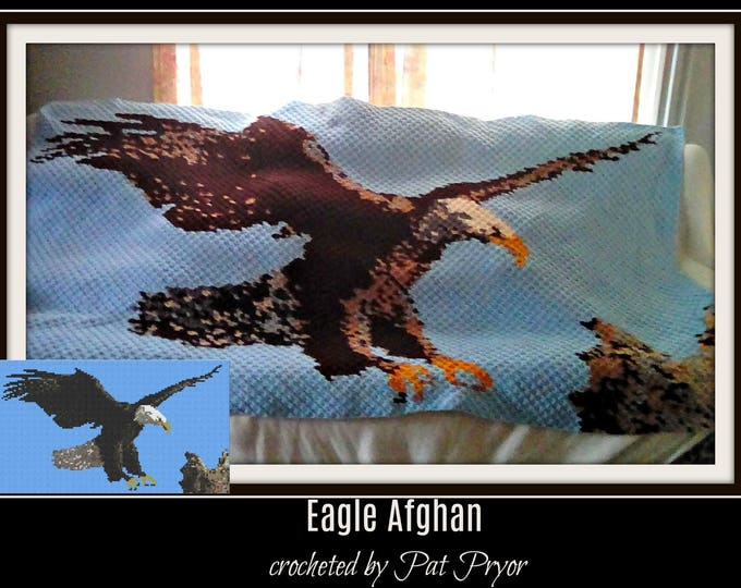 Featured listing image: Eagle Afghan, C2C Graph, with Row by Row Word Chart