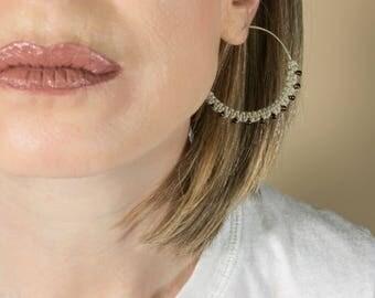 Big Hoop Earrings, African Hoops, Sterling Silver Hoop Earrings, Silver Hoops, Ethnic Jewelry, Macrame Earrings, Tribal Earrings, Boho Hoops