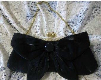 30% Off Clearance Sale Vintage Satin Bow Clutch Purse-Evening Bag W/ Interchangeable Chain