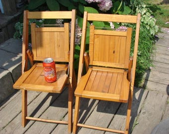 cute set of 2 vintage childrens wooden folding chairs