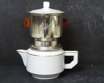 Vintage French  Coffee maker for 6 cups . Selecta white coffee pot and maker.