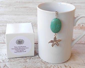 Tea Infuser,  Starfish, Blue Green Magnesite Stone,  Lead Free Charm, Beachy, Coastal, Ocean, Gift Boxed, Safe Travel Charm