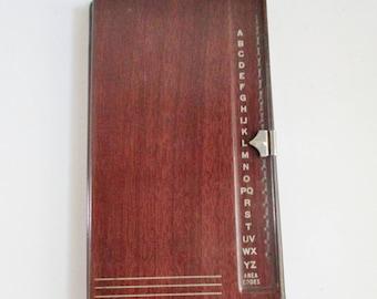 Vintage Bates Address File Metal List Finder Secretary Model G Brown Wood Grain Desk Accessory A-Z File