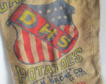 Vintage Burlap Potato Sack Advertising Graphics 100 Lb California Potatoes