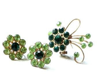 Green Rhinestone Flower Earrings and Brooch Demi Parure Set Mid Century Sparkle Screw On Ear Jewelry Scarf Lapel or Purse Pin