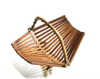 Slatted Bamboo Folding Basket Natural Fruit Vegetable Bread Stand MCM Dining Table Decor