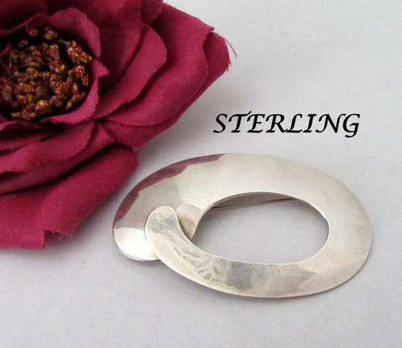 Sterling Silver Brooch -  Modernist Style - Mexico 925 -  Signed HH Pin
