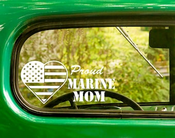 2 Proud Marine Mom Decals, US Marine Decal, US Flag Sticker, Heart Decal, US Military Decal, Car Decal, Bulk Decals, Wholesale
