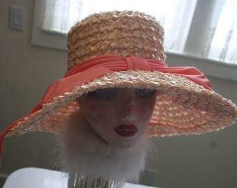 Couture Wide Brim Pink Straw Hat Easter Kentucky Derby High Fashion Runway Portrait Hat