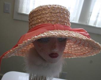 Couture Wide Brim Pink Straw Hat Easter Kentucky Derby High Fashion Runway Portrait Hat