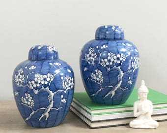 Vintage Blue White Asian Ginger Jar Pair Prunus Branches Chinoiserie Chic
