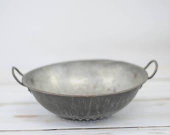 Vintage Metal Strainer Colander Kitchen Colander Metal Bowl