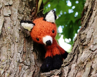 Knit Fox Doll or Photo Prop - amigurumi knitted toy