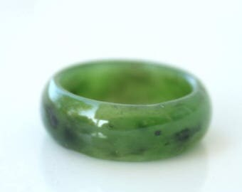 FLASH SALE Green Jade Ring - Thick Band - Simple Band Ring