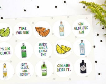 15 x Gin related stickers, Gin lovers stationery, gin stationery, gift for birthday, gin stickers, birthday gin stickers, gin party favours