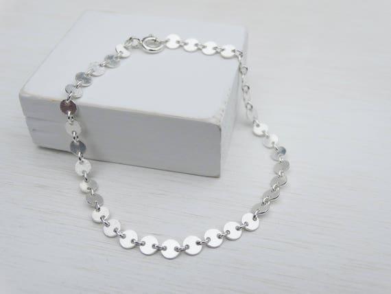 Tiny Silver Discs Bracelet, Sterling Silver