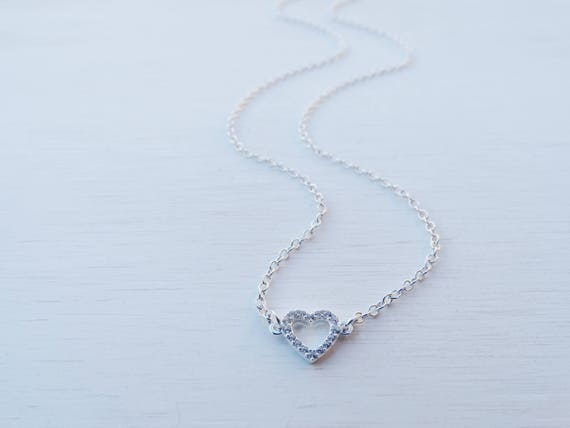 Tiny Heart Necklace, Cubic Zirconia, Sterling Silver