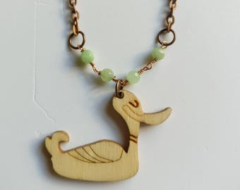Duck necklace Green stone necklace Vegan jewelry necklace Wood jewelry necklace Duck jewelry Duck pendant Boho jewelry necklace