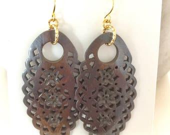 Carved Wood Earrings