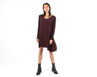 90s Rayon Gauze Loose / Relaxed Long Sleeve Scoop Neck Babydoll Grunge Burgundy Maroon Dress