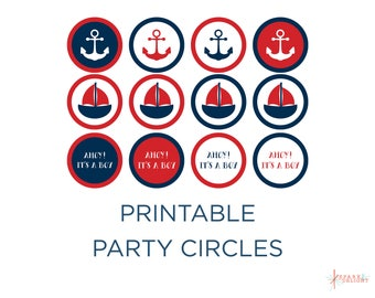 Printable Party Circles - Nautical Baby Shower - Nautical Cupcake Topper - Red and Navy - Nautical Theme - Boy Baby Shower