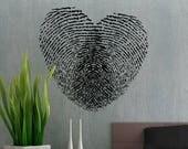 Fingerprint Heart - uBer Decals Wall Decal Vinyl Decor Art Sticker Removable Mural Modern A288