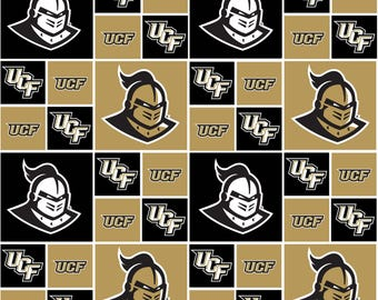University of Central Central Florida Cotton Fabric-UCF 100% Cotton Quilting Fabric-Sold by the Yard-Geometric Design