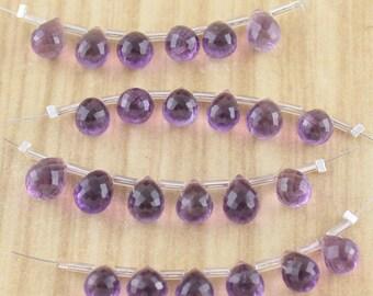 Deep Purple Amethyst Briolette Gemstone Beads - Faceted - Final Sale - Destash Jewelry Making Supplies - 6 beads per strand