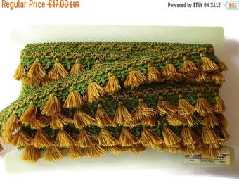 SUMMER SALE - German Vintage Mustard & Green Rustic Fabric Border Trim, Ornamental Trimmings for Lampshades Curtains, Supply