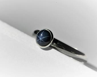 Round 6 MM Created Blue Star Sapphire Sterling Silver Ring