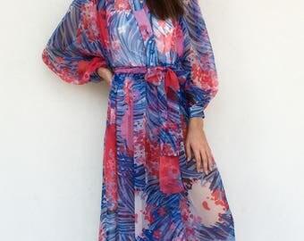 Designer Victor Costa 70s sheer flowy maxi dress