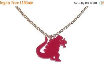 Godzilla Necklace Pink Quirky Kitsch Dinosaur Laser Cut Acrylic