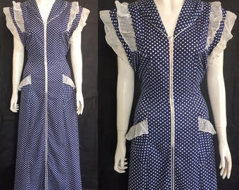 1940s polka dot zip front house dress / maxi dress / house coat