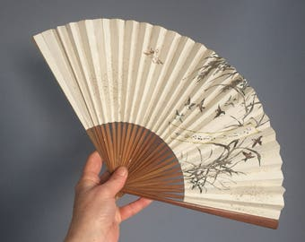 Chinese 1950s paper fan with birds