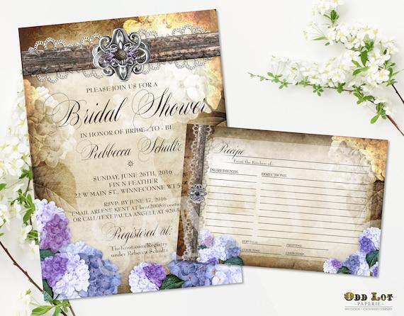 rustic bridal shower template hydrangea invitation country wedding
