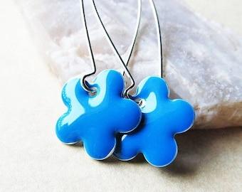 40% OFF Dangle Drop Earrings - Turquoise Blue Epoxy Enamel Flowers - Sterling Silver Plated over Brass (F-2)