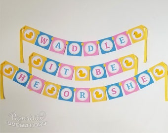 Rubber Ducky Theme Baby Shower Party Banner | Yellow Pink Blue | Personalized | Waddle It Be | Gender Reveal