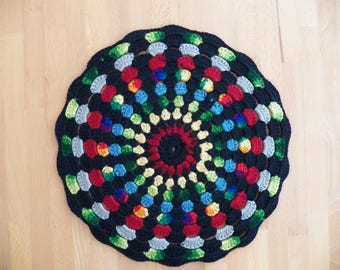 Vintage 1960 Hand Knit Chair Pad with Vivid Colors