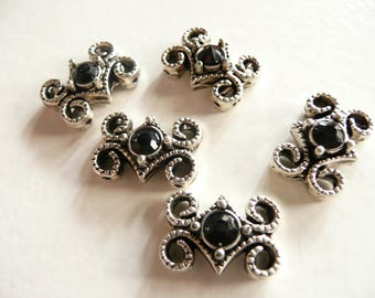 Swarovski Crystal  Antique Silver Plated 2 Hole Slider Bead - 16x11mm - Jet Black - 5 pieces