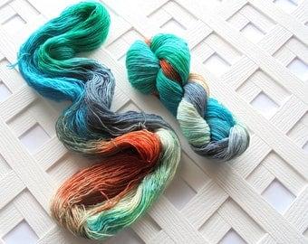 Hand-Dyed Yarn, KINGFISHER, Variegated Merino Yarn, Sparkly Indie Yarn, Sparkly Sock Yarn, Fingering Yarn, Indie-Dyed Yarn, Knitting Yarn