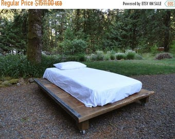 Limited Time Sale 10% OFF Rustic Wood and Steel Platform Bed, King size 86 inches wide