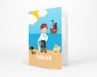 Pirate Personalized Folder - Pirate Boy Sea Island, Customized Pocket Folder 2 Horizontal Pockets Back to School