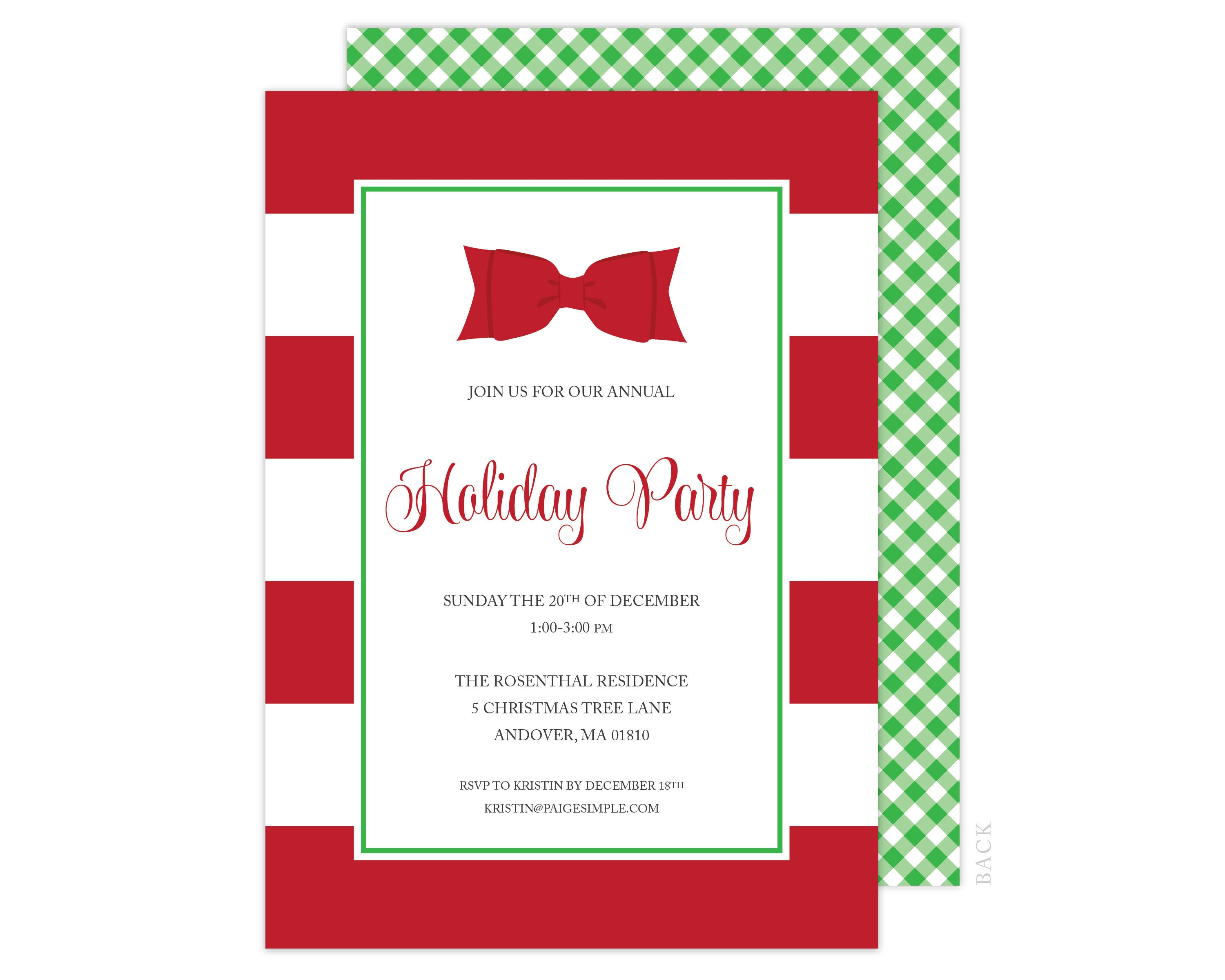 Red Bow Holiday Party Card, Red Stripe Christmas Card, Holiday Party ...