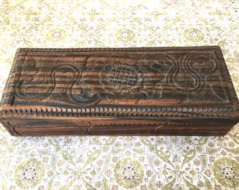 Pretty Hand Carved Wooden Trinket Box of Exotic Wood