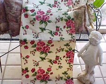 Charming Vintage 1940's Cottage Chic Drapery Panel with Deep Pink Roses
