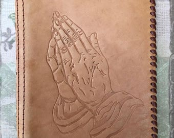 Pretty Little Vintage Hand Tooled Leather Prayer Book Cover with Praying Hands Design
