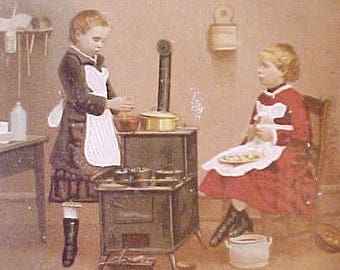 Darling Victorian Scrap- Little Sisters Cooking