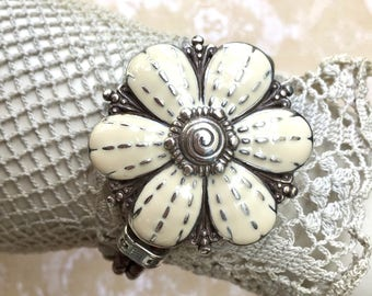 Charming Floral Bracelet with Woven Leather Band by Brighton