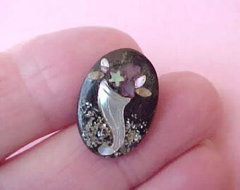 Beautiful and Unusual French Papier Mache Button Inlaid with Mother-of-Pearl